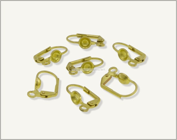 20 pc.+  Leverback Earwire with 5mm Setting Cup - Raw Brass
