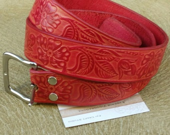 Floral ornament Embossed Leather Belt / 003 / red and pink belt / handmade plus size belt