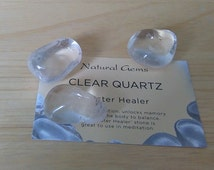Rock Quartz Tumbled Stones - Three Large Stones 25mm with Crystal Card & Pouch