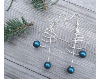 Seasonal Spiral Christmas Tree silver dangle earrings with blue green seacolor beads