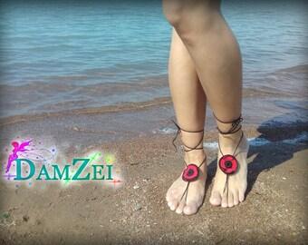 flower Barefoot Sandal, Red Barefoot Sandal, Lace Barefoot Sandal, Barefoot Anklet, Foot Jewelry, poppy