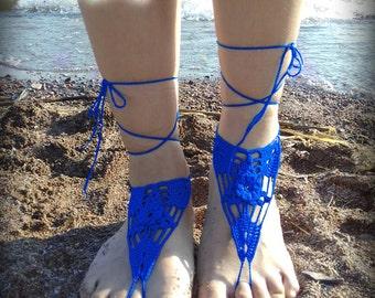 Blue Barefoot Sandal, Crocheted flower Anklet, White Barefoot Sandal, Purple Lace Barefoot Sandal, Wedding, Barefoot Anklet, Foot Jewelry
