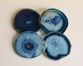 Agate Coasters,  Blue Brazilian, Set of 4
