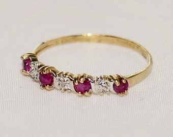 July Birthstone- Ruby, Yellow Gold and Diamond Vintage Band Ring Size 9