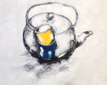 Camille Hajek by MEDArts Original Epoxy Still life teapot teacup tea time cup Daily Object Ink Epoxy Black and White Painting Yellow blue
