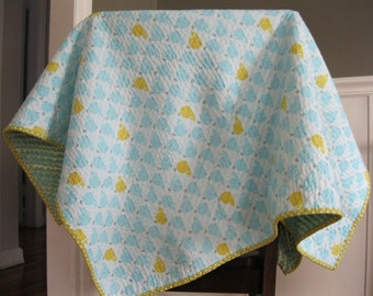 Faux Chenille Baby Blanket Quilt - Lime Green and Teal Whales