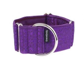 Purple martingale collar, martingale collars, dog collars, 2 inch,purple, martingale collar, greyhound martingale collars