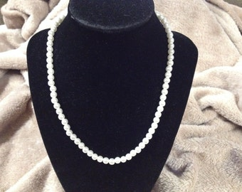 Vintage White Faux Pearl Beaded Necklace with Silvertone Clasp, 17'' Long