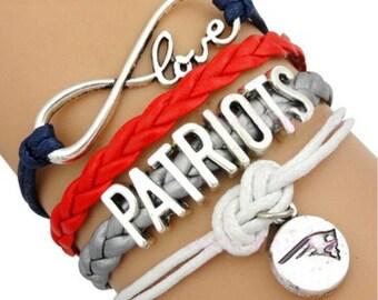 Love New England Patriots Wrap Bracelet Blue Red Silver