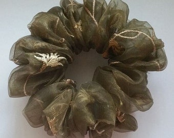 Olive Green Lace Scrunchie
