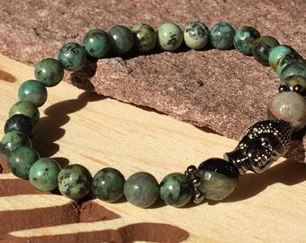 Nature Bracelet Zen,African Turquoise,Black Buddha Bracelet,Green Bracelet,Boho Agate Bracelet,Natural Bracelet, Christmas Gift Buddha Chic