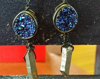 Lost Things: Geode and Titanium Quartz Earrings
