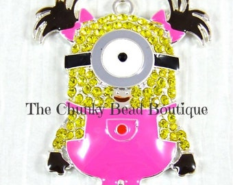 Rhinestone Girl Minion with Pink Overalls Pendant