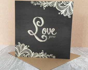 FREE SHIPPING * Love You card from the Vintage Lace collection