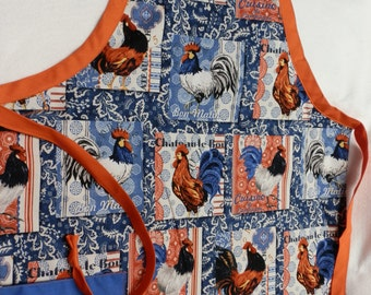 Red, White and Blue Rooster Apron