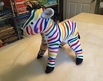 Rainbow Zebra - small soft toy