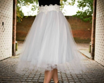 Adult Tulle skirt, with lace and satin bow waistband. In Silver but other colours available. Bridesmaid/ prom/ wedding guest /special occ
