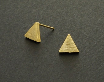Naif Earrings, Geometric Earrings, Tiny Earrings, Gold Triangle earrings