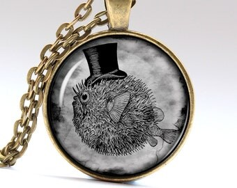 Pufferfish Necklace, Fish Jewelry, Jerzy-fish Pendant,  Pendants Necklaces Jewellery LG081