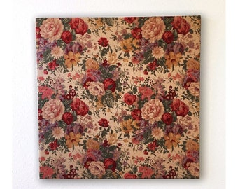 Full-scale wooden fabric panel of floral