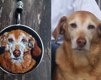Commissioned Pet Portrait Necklace, Embroidered Pet, Dog Necklace, Custom Dog Embroidery, Custom Pet embroidery, Hand Embroidered Pet
