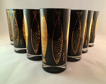 SALE - Fred Press Gold and Black Fish Glasses - set of 7 - 1960's Barware