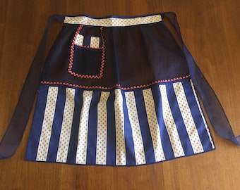 SALE - 1950's Kitchen Apron - Red, White and Blue