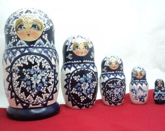"Matryoshka Russian nesting dolls 16,5 cm. (6.4 "") Five dolls handmade from Ukraine, Decor, Handicrafts"