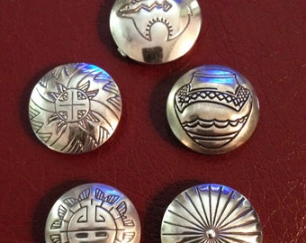 Set of Silver Native American Button Covers