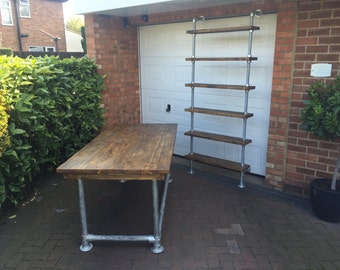 Scaffold plank table and scaffold shelving unit urban industrial