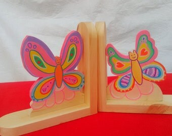 Handmade Wooden butterfly bookends