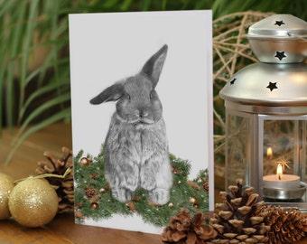 CUTE BUNNY drawing CHRISTMAS card, holiday card, rabbit christmas, rabbit card, cute christmas card, bunny christmas card, greeting card,