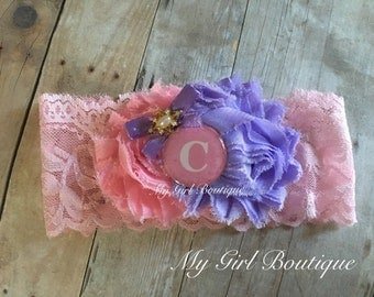 Monogrammed You choose Initial ,Letter Name Personlized Sparkle, lace newborn headband