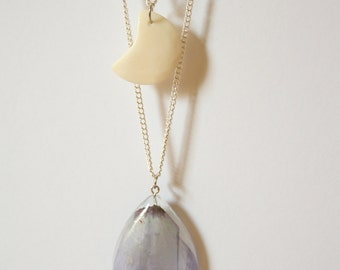 Flower Petal and Moon Necklace