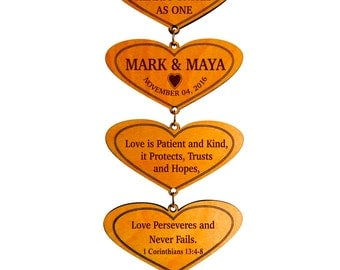 Love Chapter Gift to a Couple on their Wedding,Wedding Custom Gift,1 Corinthians 13:4 Gift from Mom and Dad,Personalized Hanging Hearts Gift