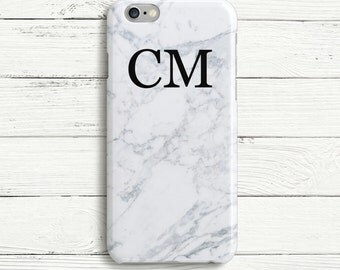 White Double Initial Personalized Phone Case Monogram iPhone 8 case, iPhone 6 Case  iPhone 6 Plus Case, iPhone 7 case, Samsung S8 Case