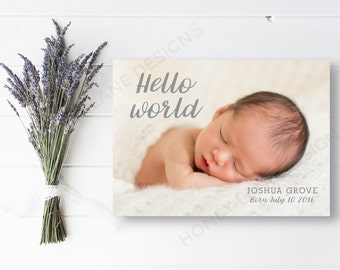 Personalised Birth Announcement Card, Baby Joshua, Printable, PDF, Baby Boy, Baby Girl - BA23