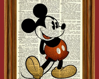 Classic Mickey Mouse Upcycled Dictionary Art Print Poster