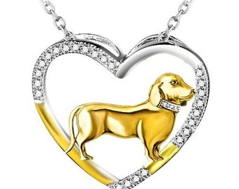 Sterling Silver Open Heart Dachshund Necklace