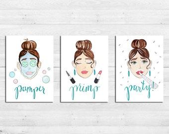 Primp Pamper Party Watercolor Cute Art Print Trio, Bathroom Wall Decor, Set  Of Three Part 27