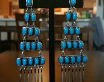 Native American Turquoise and Silver Ladder Earrings