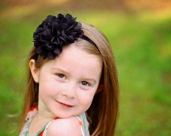 Black flower headband - large flower headband - baby headband - infant headband - girls headband - stretchy headbands - baby girls hair band