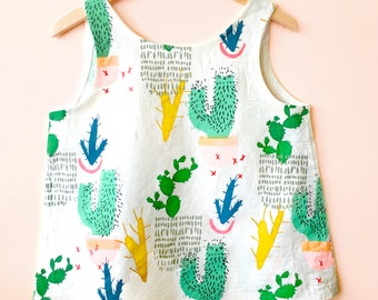 Ladies Screen Printed Cactus Colourful Potplant Garden Sleeveless Linen Top