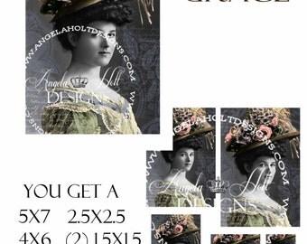 Vintage Grace 2 Sheet Digi Photo Set