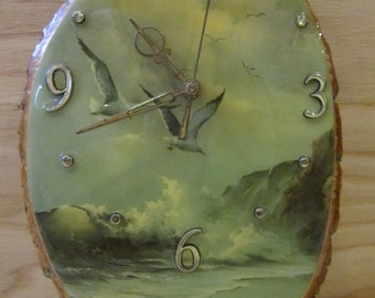 """Vintage Rustic Wood Slab Wall Clock * Seagulls Flying Over Rough Ocean Wall Clock * Made in USA * 11.5"""" H x 7.5"""" W"""