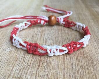 White and Red Hemp Anklet, Braided Anklet, Macrame Anklet, Hemp Bracelet HA001110