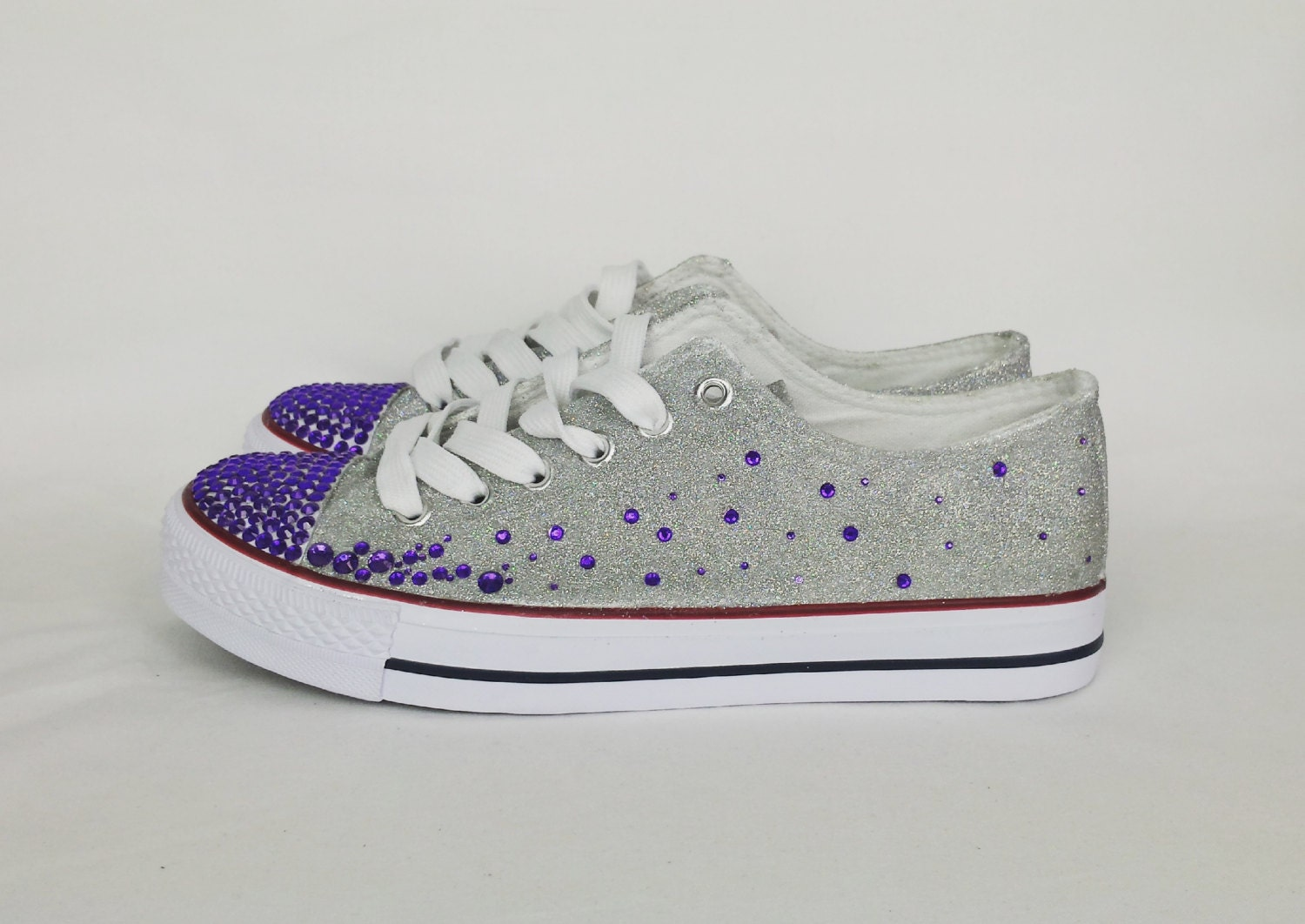 Silver Glitter Bridal Shoes Bling Sneakers Wedding Converse
