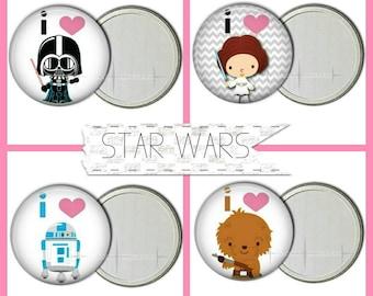 "I Love Star Wars, 3"" Pocket Mirrors"