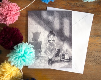 greeting card | card | girl reading | black and white | reading a book | book | bookworm | book lover | illustration | art work card