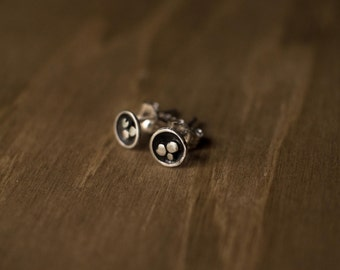 Abstract Pebble Sterling Silver Earrings